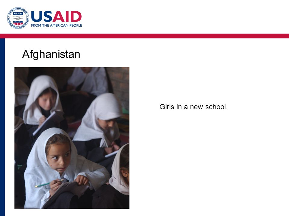Afghanistan Girls in a new school.