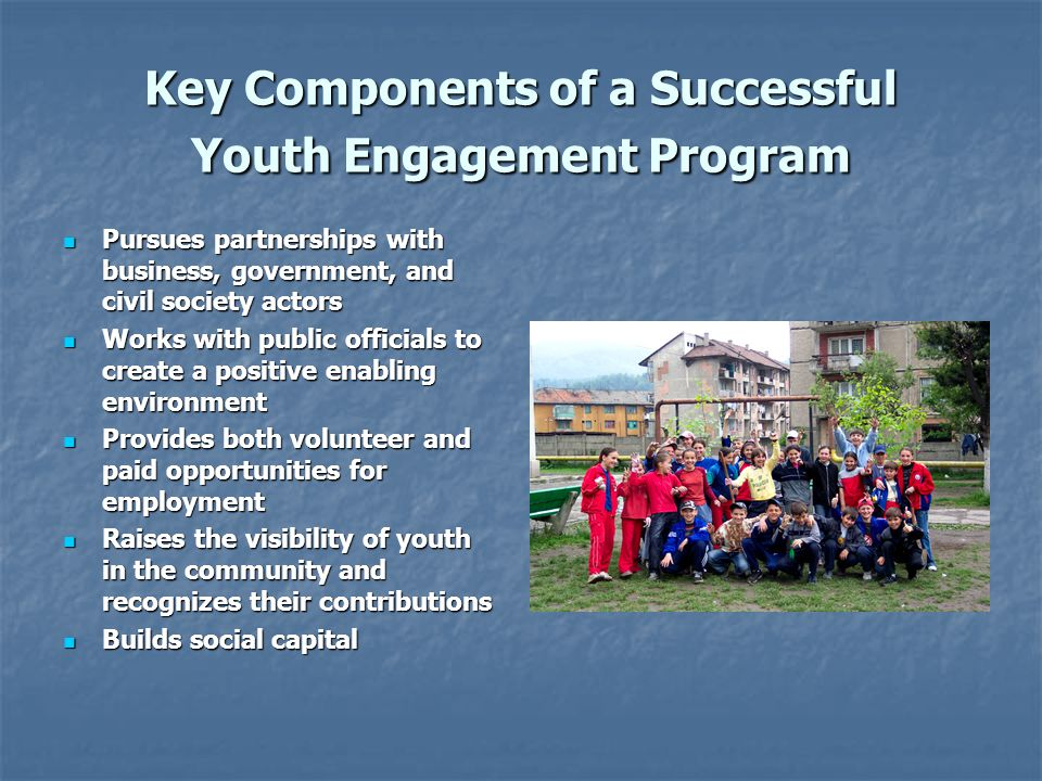 Key Components of a Successful Youth Engagement Program Pursues partnerships with business, government, and civil society actors Pursues partnerships
