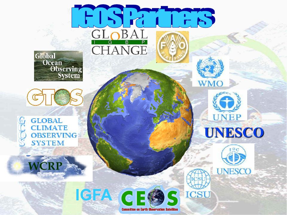- 16 Created in 1984 42 organizations involved Goals: To optimize benefits of space-borne Earth observations To serve as focal point for international coordination of such observations To exchange policy and technical information to encourage complementarity among space systems COMMITTEE ON EARTH OBSERVATION SATELLITES