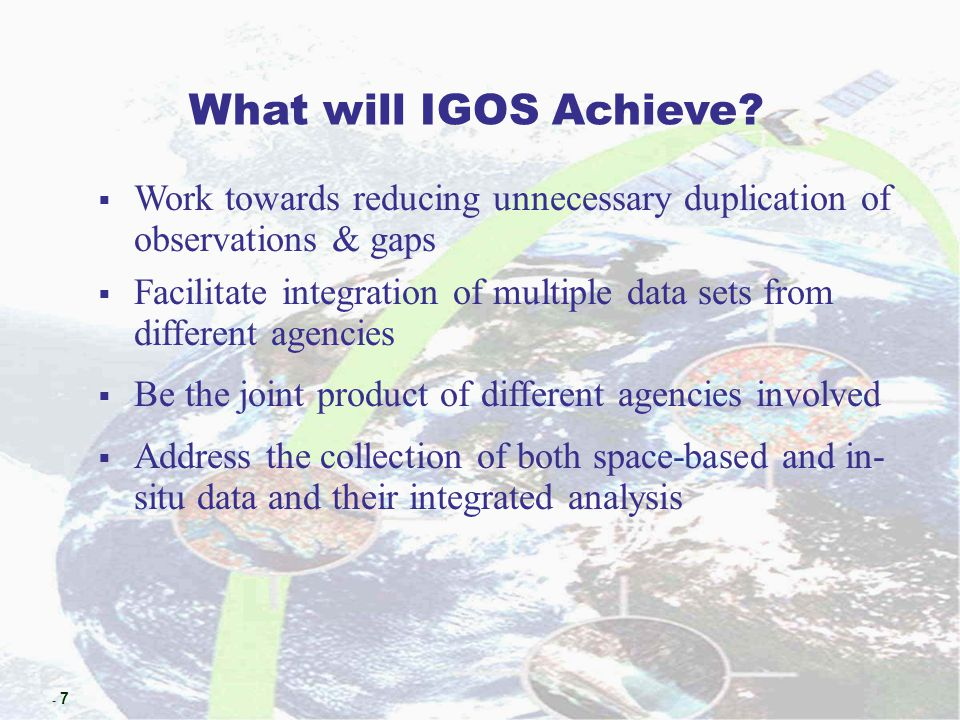 - 18 COMMITTEE ON EARTH OBSERVATION SATELLITES SECRETARIAT ( ESA, NASA/NOAA, NASDA, CEOS CHAIR ) WORKING GROUP ON INFORMATION SYSTEMS AND SERVICES CHAIR: CCRS/Canada WORKING GROUP ON CALIBRATION AND VALIDATION CHAIR: EC 1995 CHAIR - CSA 1996 CHAIR- CSIRO 1997 CHAIR - CNES 1998 CHAIR - ISRO 1999 CHAIR - EUMETSAT 2000 CHAIR - INPE 2001 CHAIR- NASDA 2002 CHAIR - ESA 1984 CHAIR - NOAA 1986 CHAIR - ESA 1988 CHAIR - CSA 1990 CHAIR - INPE 1991 CHAIR - NASA 1992 CHAIR - BNSC 1993 CHAIR - NASDA 1994 CHAIR - DARA STRATEGIC IMPLEMENTATION TEAM AD-HOC WORKING GROUP ON EO EDUCATION AND TRAINING CHAIR:ISRO DISASTER MANAGEMENT SUPPORT AD HOC WORKING GROUP CHAIR: NOAA