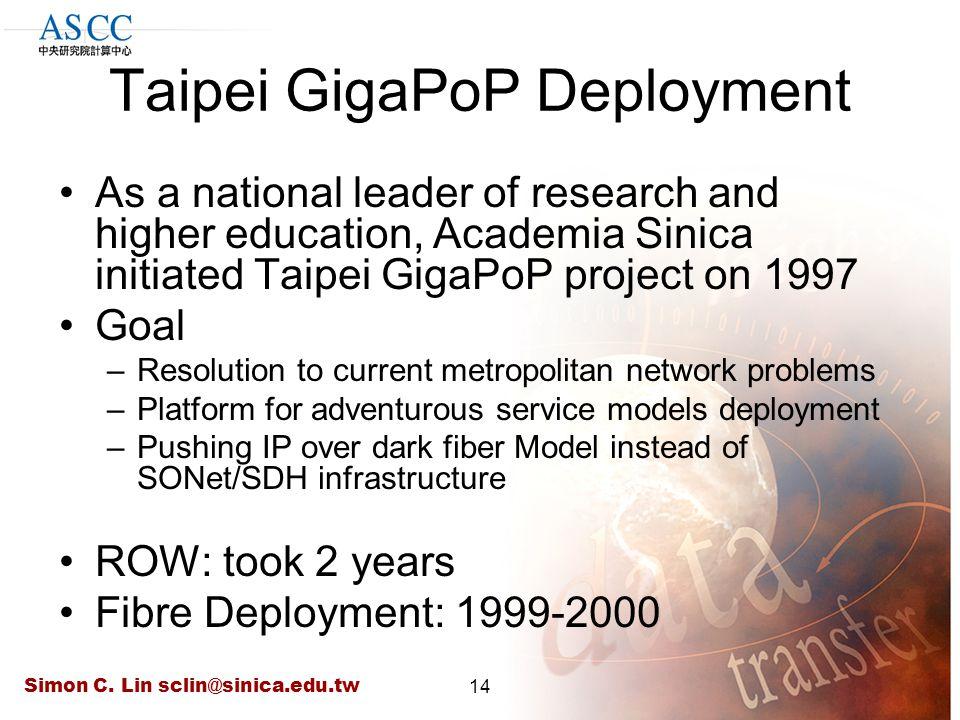 Simon C. Lin sclin@sinica.edu.tw14 Taipei GigaPoP Deployment As a national leader of research and higher education, Academia Sinica initiated Taipei G