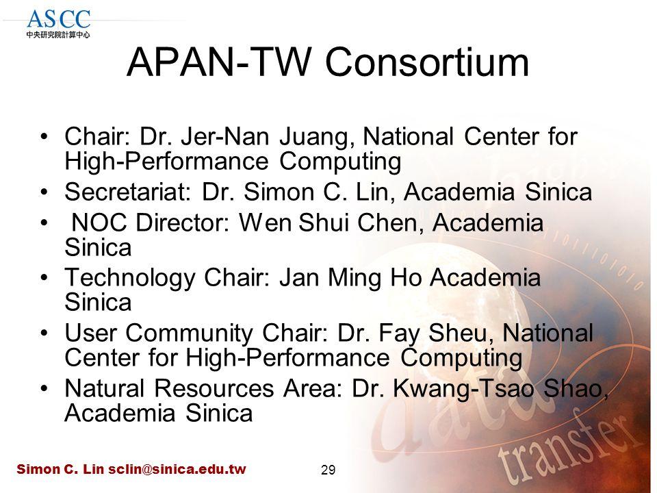 Simon C. Lin sclin@sinica.edu.tw29 APAN-TW Consortium Chair: Dr. Jer-Nan Juang, National Center for High-Performance Computing Secretariat: Dr. Simon