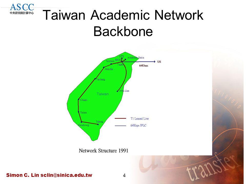 Simon C. Lin sclin@sinica.edu.tw4 Taiwan Academic Network Backbone