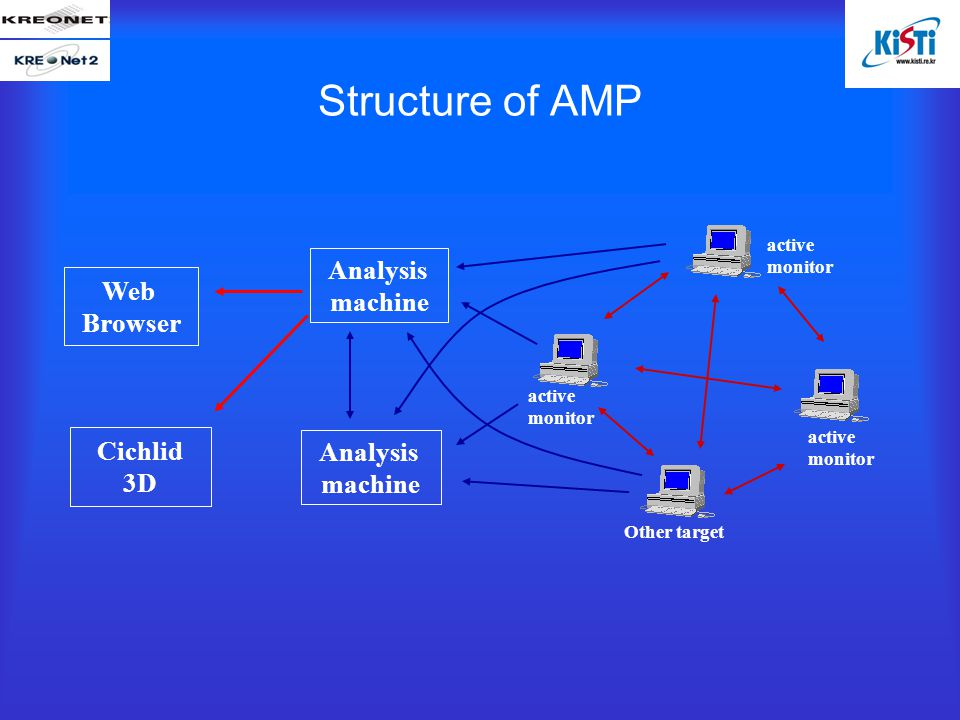 Structure of AMP Analysis machine active monitor Other target Analysis machine Cichlid 3D Web Browser active monitor