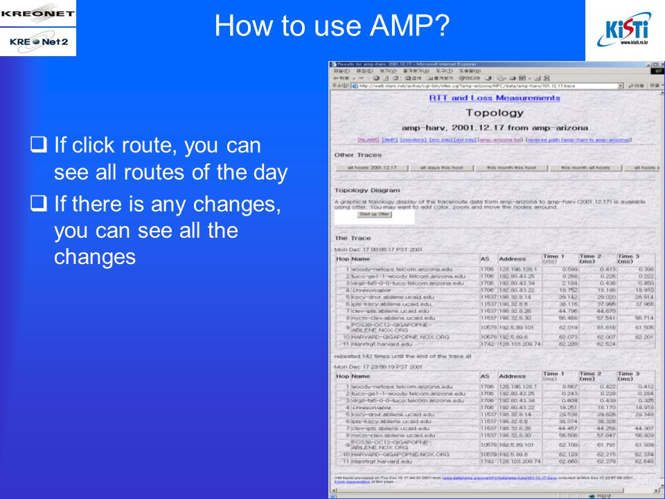  If click route, you can see all routes of the day  If there is any changes, you can see all the changes How to use AMP