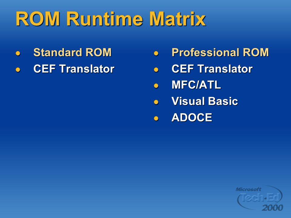 ROM Runtime Matrix Standard ROM Standard ROM CEF Translator CEF Translator Professional ROM Professional ROM CEF Translator CEF Translator MFC/ATL MFC/ATL Visual Basic Visual Basic ADOCE ADOCE