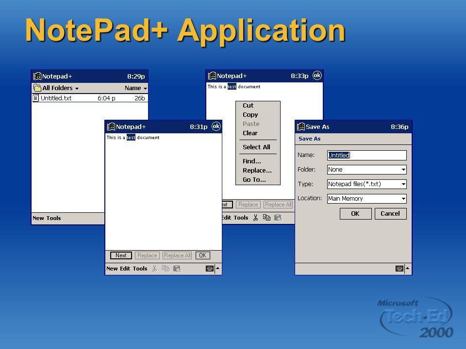 NotePad+ Application