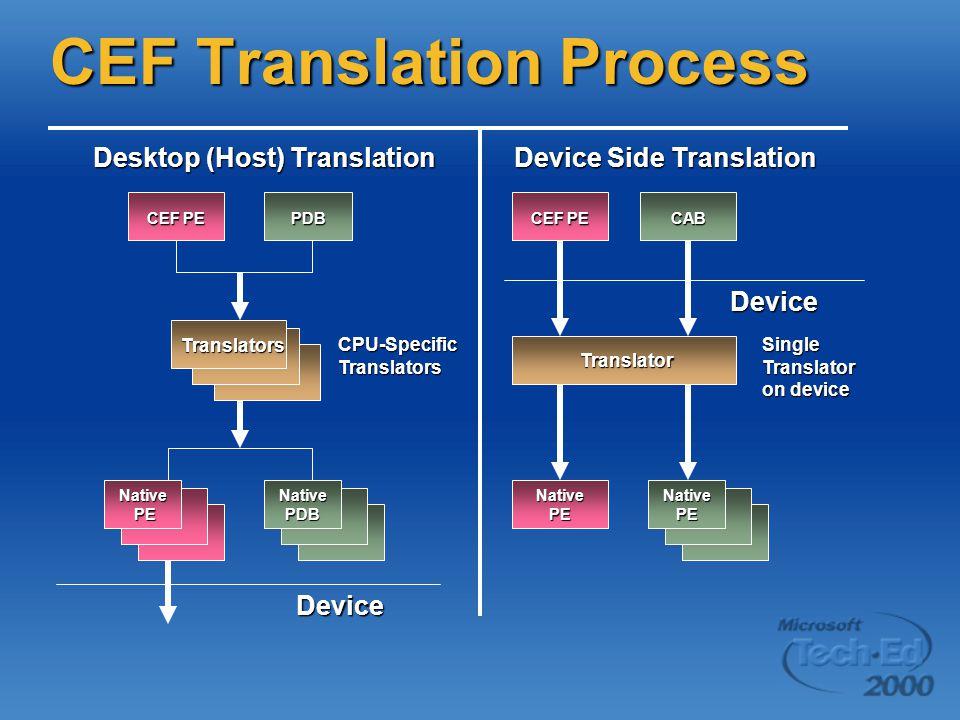 CEF Translation Process Desktop (Host) Translation Device Side Translation Device CEF PE PDB Translators CPU-Specific Translators Native PE PENativePDB Device CEF PE Translator Translator Single Translator on device CAB Native PE NativePE