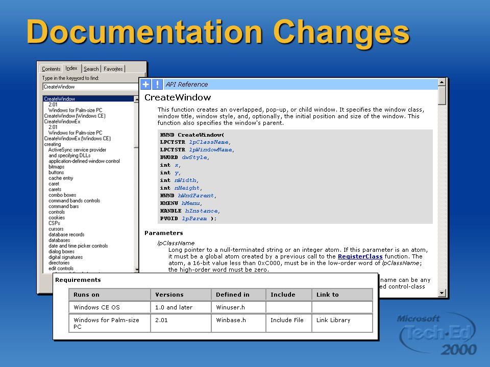 Documentation Changes