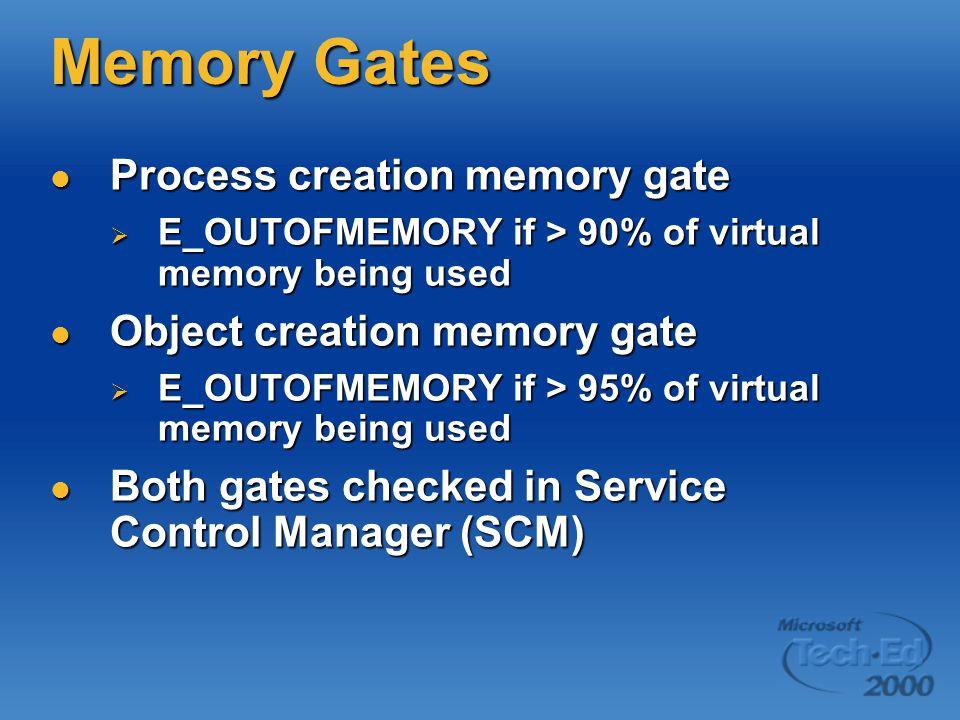 Memory Gates Process creation memory gate Process creation memory gate  E_OUTOFMEMORY if > 90% of virtual memory being used Object creation memory gate Object creation memory gate  E_OUTOFMEMORY if > 95% of virtual memory being used Both gates checked in Service Control Manager (SCM) Both gates checked in Service Control Manager (SCM)