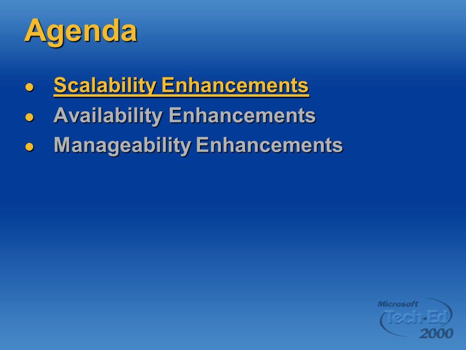 Agenda Scalability Enhancements Scalability Enhancements Availability Enhancements Availability Enhancements Manageability Enhancements Manageability Enhancements