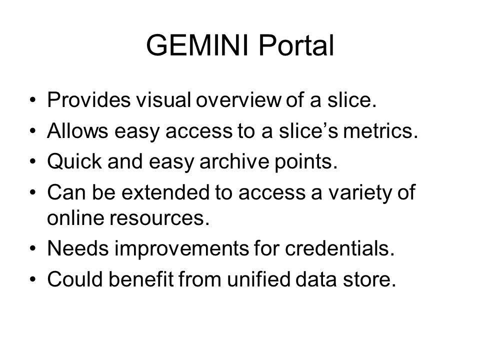 GEMINI Portal Provides visual overview of a slice.