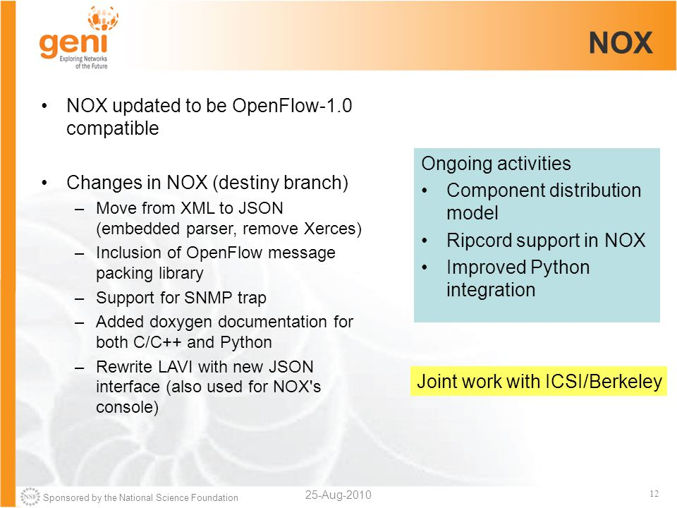 Sponsored by the National Science Foundation 12 NOX 25-Aug-2010 NOX updated to be OpenFlow-1.0 compatible Changes in NOX (destiny branch) –Move from XML to JSON (embedded parser, remove Xerces) –Inclusion of OpenFlow message packing library –Support for SNMP trap –Added doxygen documentation for both C/C++ and Python –Rewrite LAVI with new JSON interface (also used for NOX s console) Ongoing activities Component distribution model Ripcord support in NOX Improved Python integration Joint work with ICSI/Berkeley