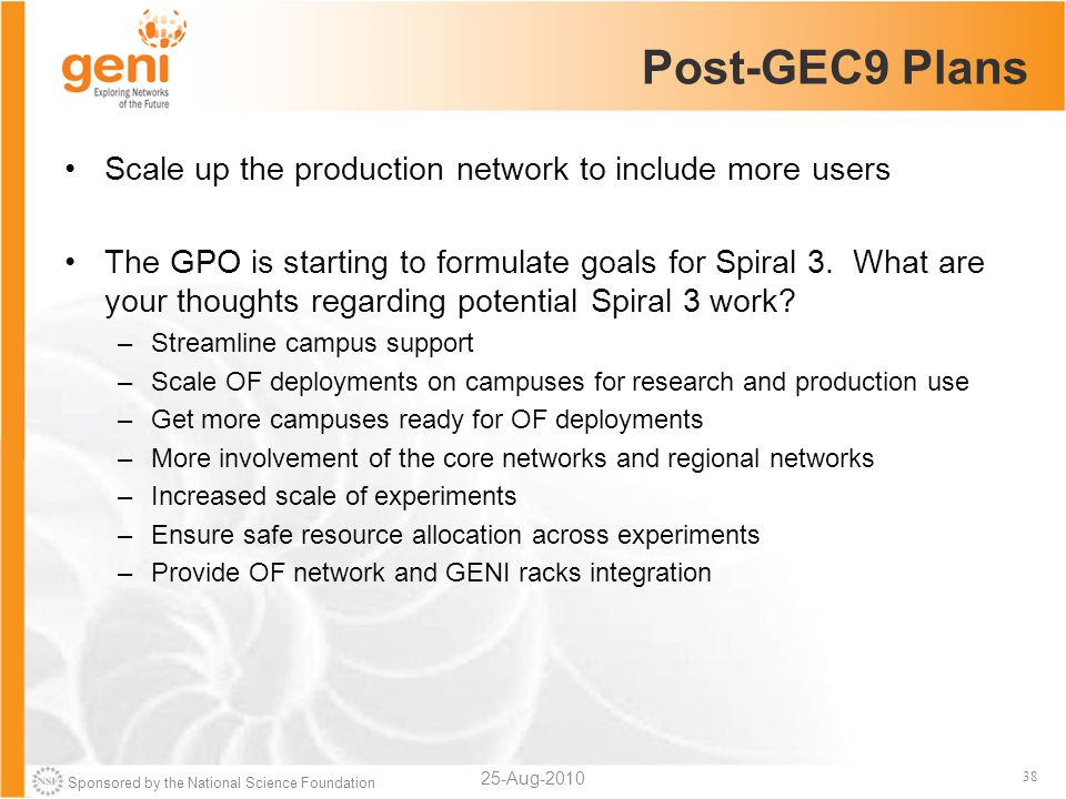 Sponsored by the National Science Foundation 38 Post-GEC9 Plans Scale up the production network to include more users The GPO is starting to formulate goals for Spiral 3.