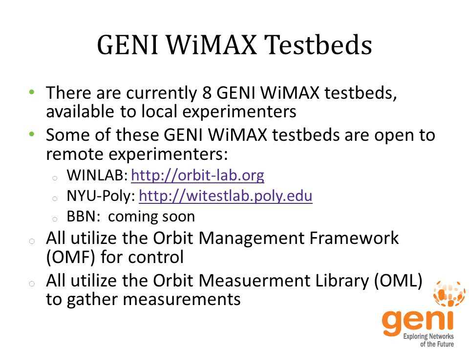 Configuration of a WiMAX Testbed