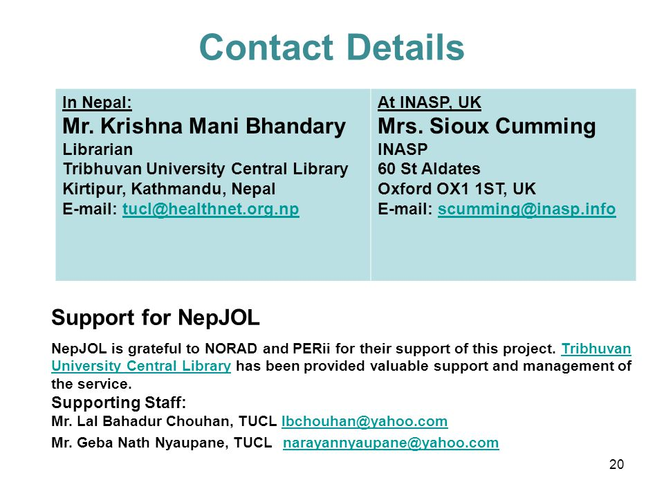 Contact Details In Nepal: Mr.
