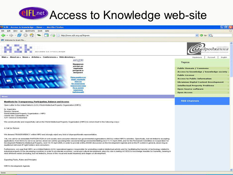 Access to Knowledge web-site