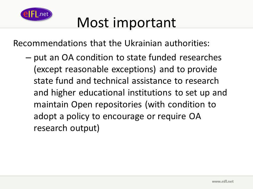And Recommendations that the Ukrainian authorities: – support ICT development in libraries, archives, museums and other organizations seeking to enhance access to information and to providing state fund and technical assistance to OA to cultural heritage.