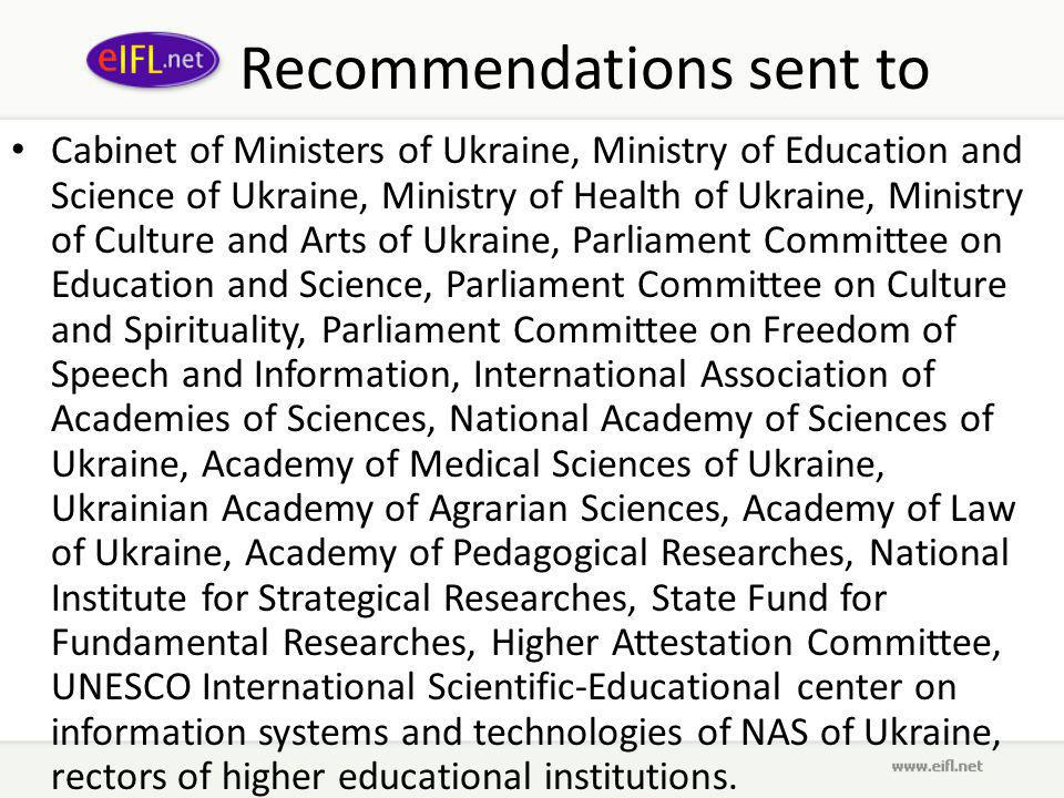 And Recommendations endorsed by Ukrainian Vice Prime Minister