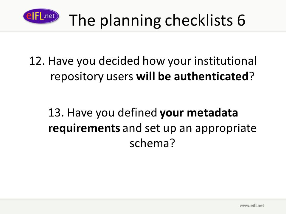 The planning checklists 6 12.