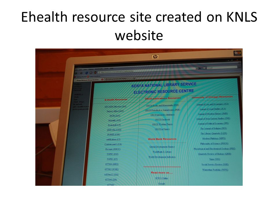 Ehealth resource site created on KNLS website