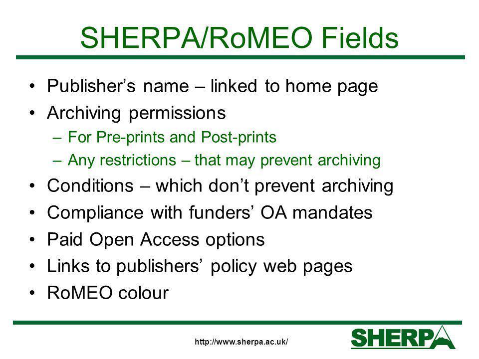 http://www.sherpa.ac.uk/ SHERPA/RoMEO Colours