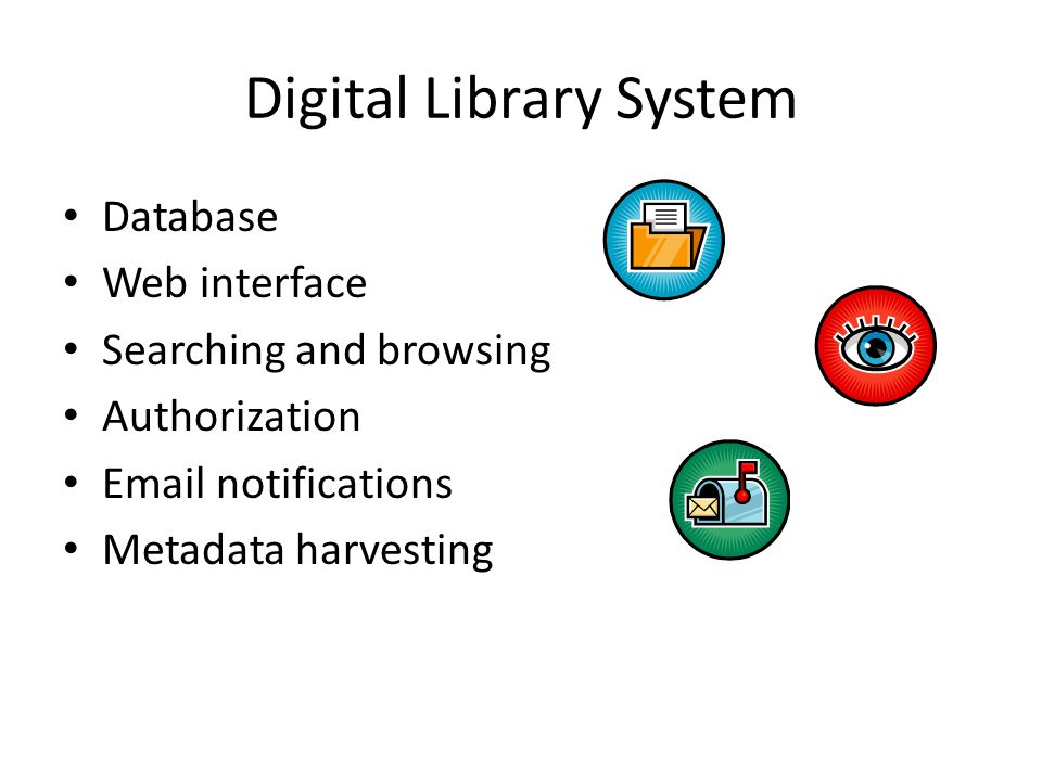 Digital Library System Database Web interface Searching and browsing Authorization Email notifications Metadata harvesting