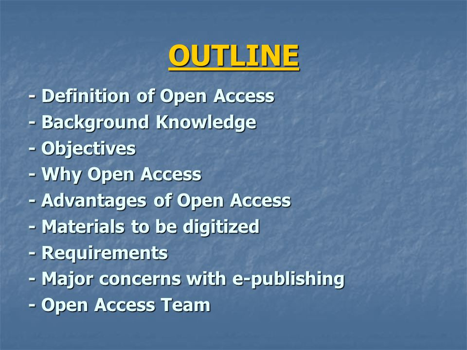 DEFINITION of OPEN ACCESS Wikipedia encyclopedia:- Open access (OA) is free, immediate, permanent, full-text, online access, for any user, web-wide, to digital scientific and scholarly material, primarily research articles published in peer-reviewed journals.