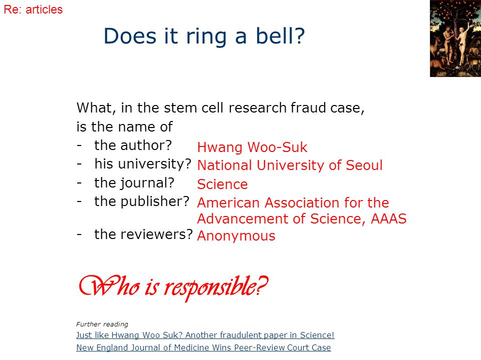 What, in the stem cell research fraud case, is the name of -the author.