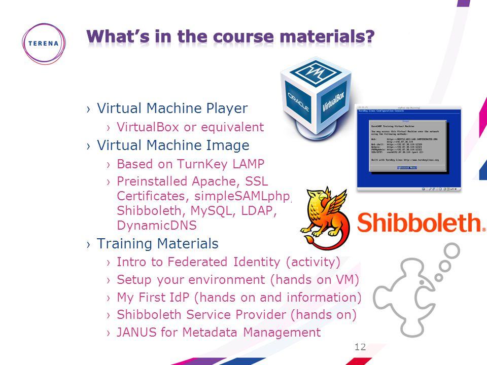 ›Virtual Machine Player ›VirtualBox or equivalent ›Virtual Machine Image ›Based on TurnKey LAMP ›Preinstalled Apache, SSL Certificates, simpleSAMLphp,