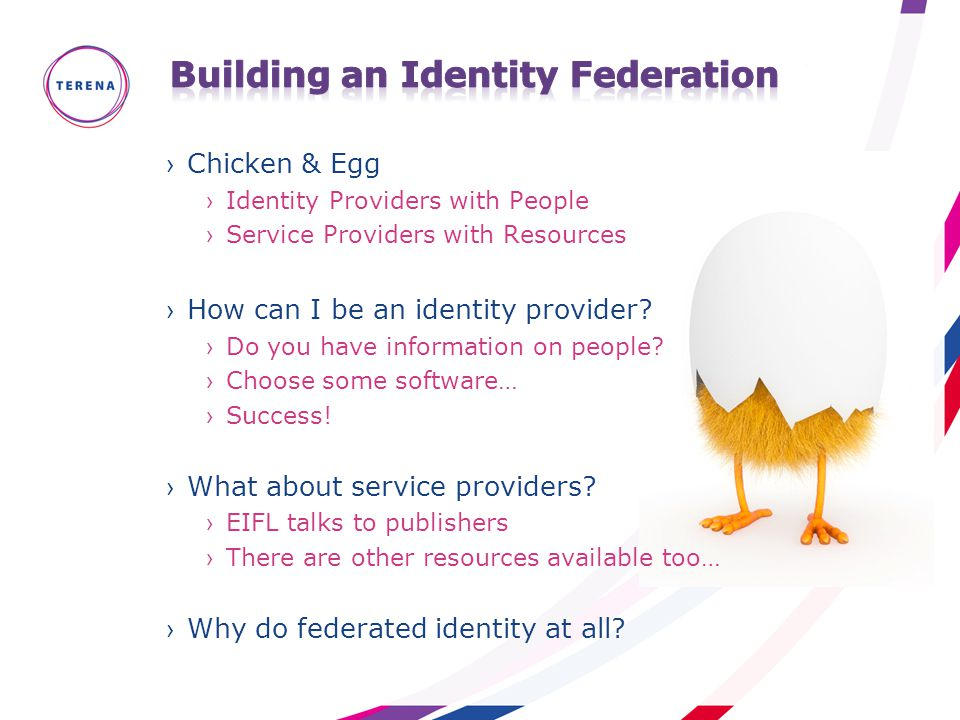 ›Chicken & Egg ›Identity Providers with People ›Service Providers with Resources ›How can I be an identity provider? ›Do you have information on peopl