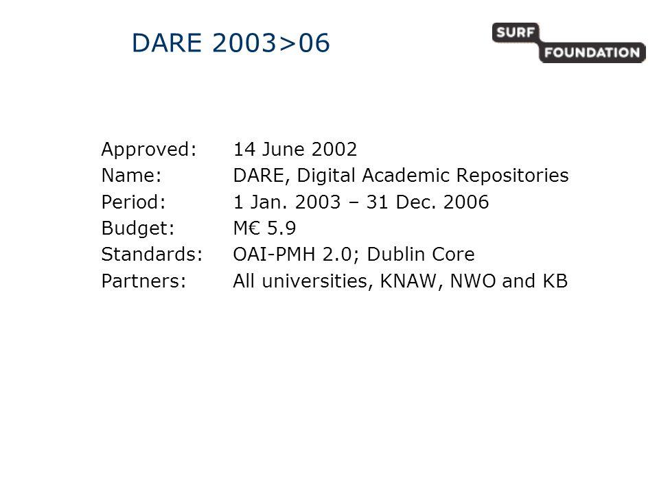 DARE 2003>06 Approved:14 June 2002 Name: DARE, Digital Academic Repositories Period: 1 Jan.