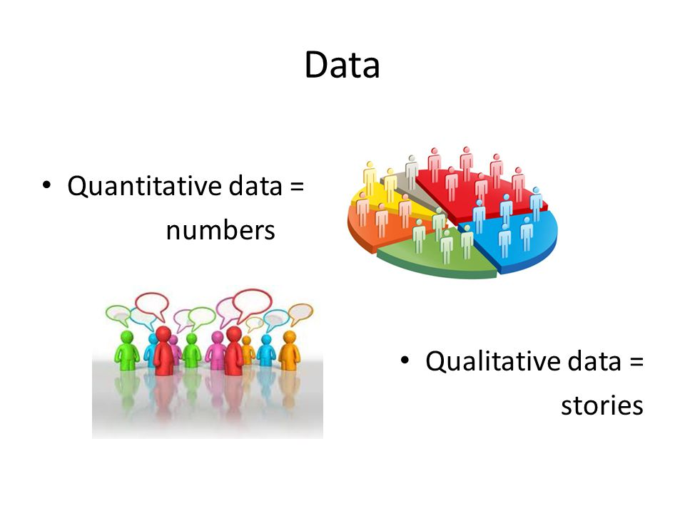 Data Quantitative data = numbers Qualitative data = stories