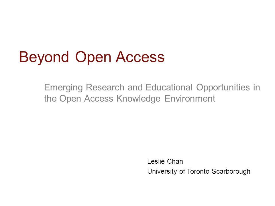 Open Access is Generative
