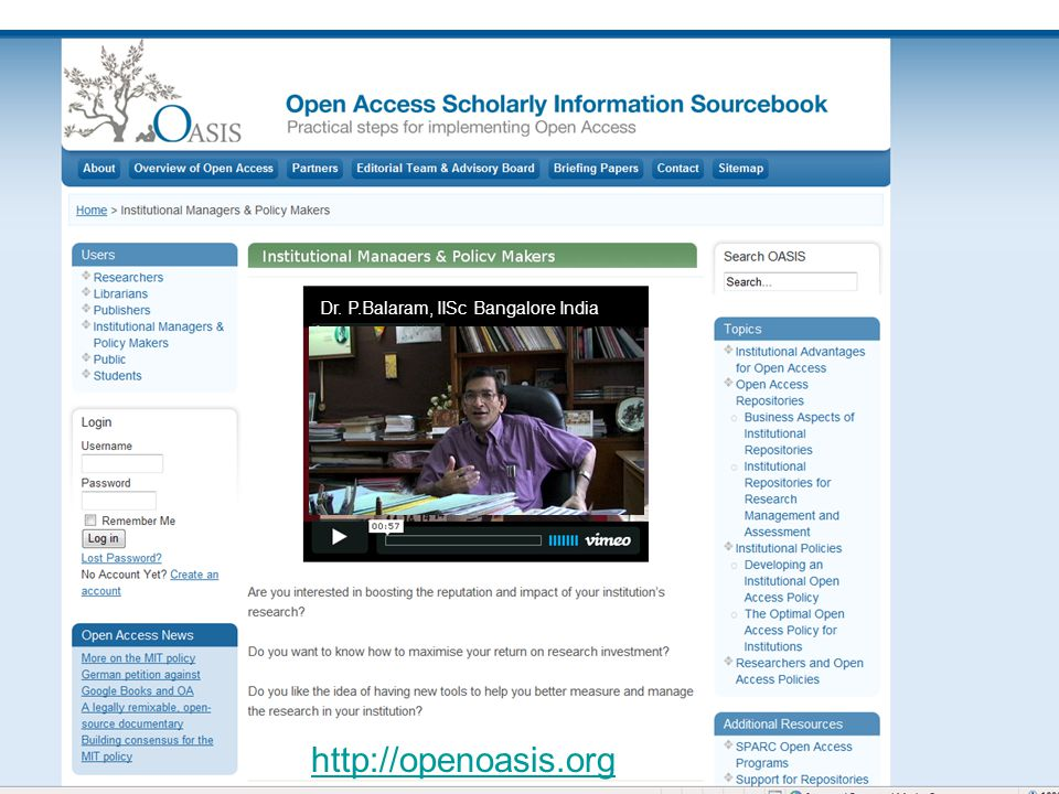 Dr. P.Balaram, IISc Bangalore India http://openoasis.org