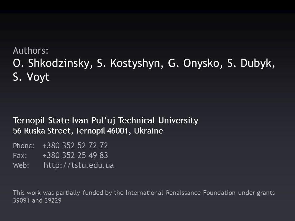 Authors: O. Shkodzinsky, S. Kostyshyn, G. Onysko, S.