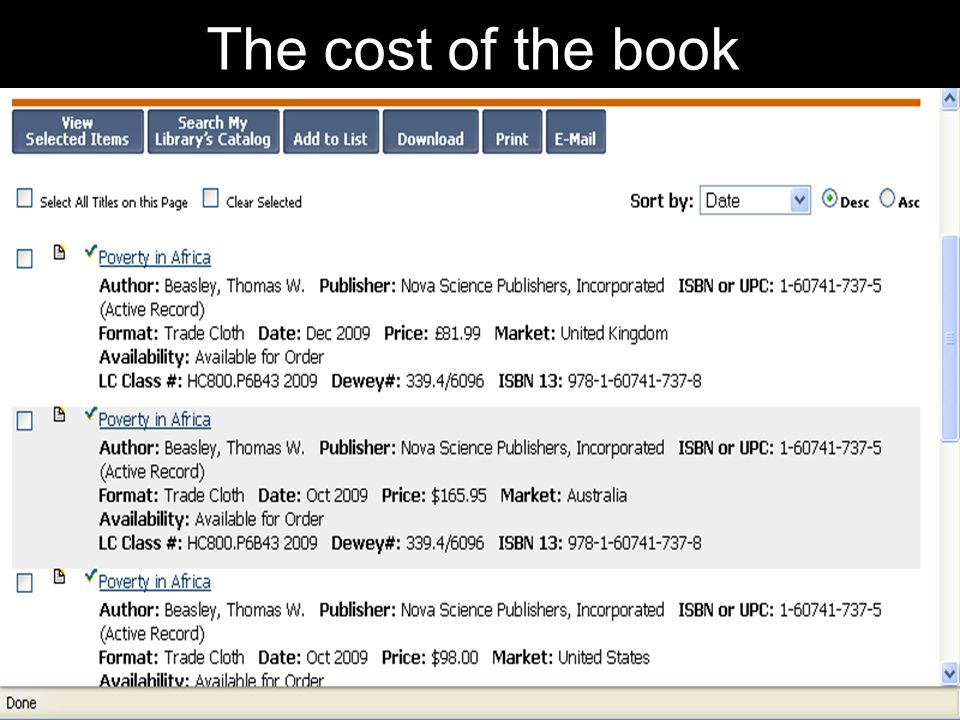The cost of the book