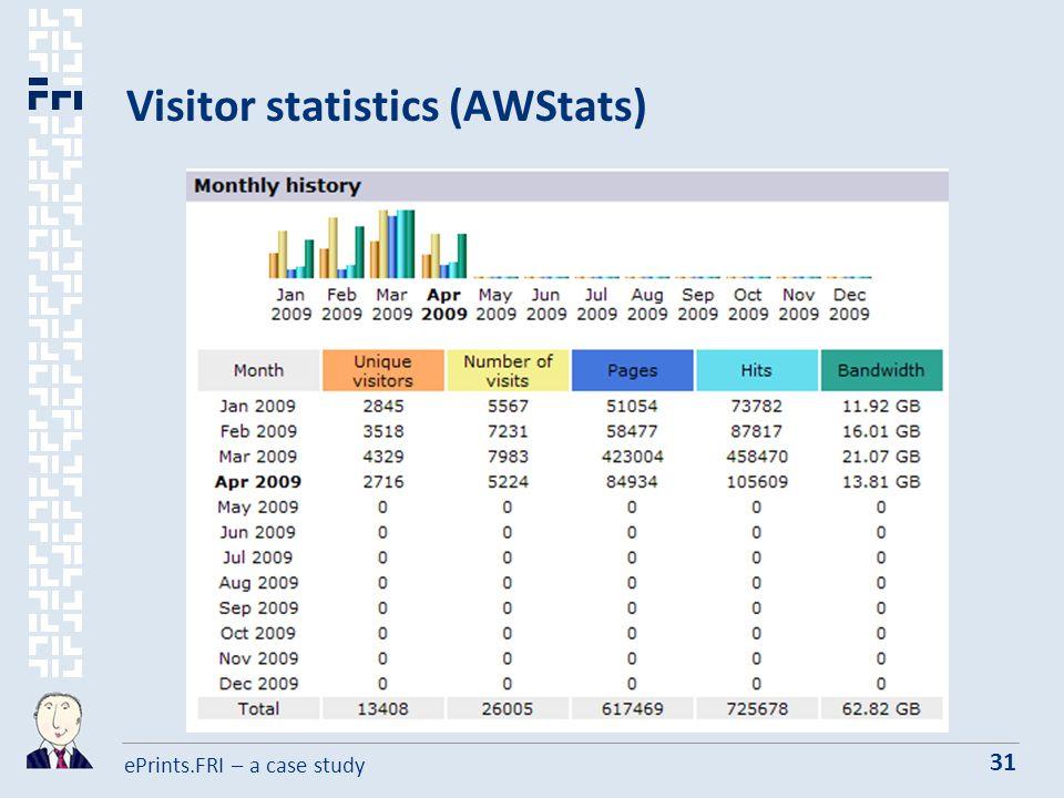 ePrints.FRI – a case study 31 Visitor statistics (AWStats)