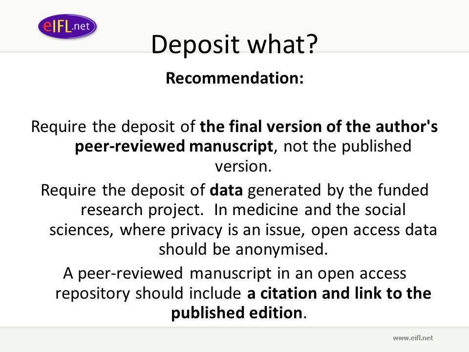 Deposit what.