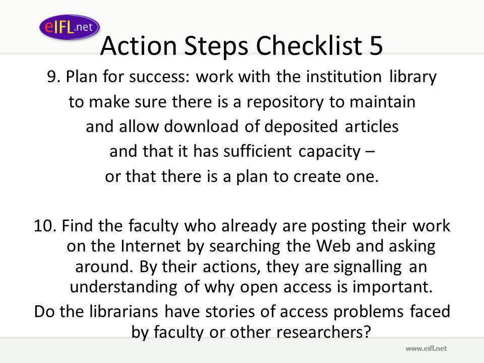 Action Steps Checklist 5 9.