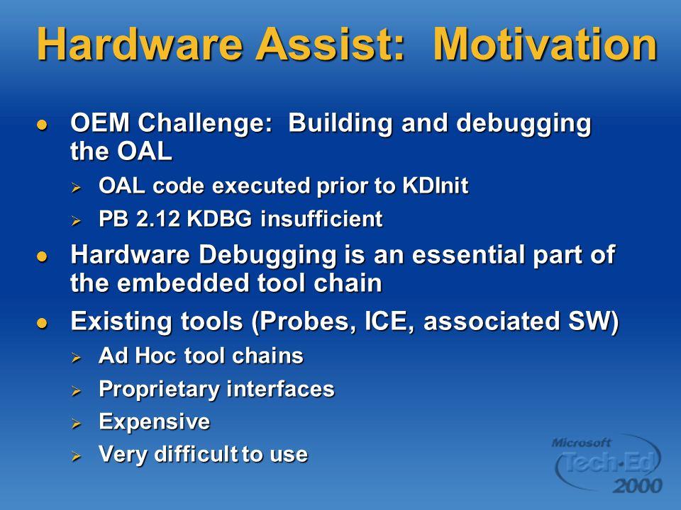 Hardware Assist: Motivation OEM Challenge: Building and debugging the OAL OEM Challenge: Building and debugging the OAL  OAL code executed prior to K