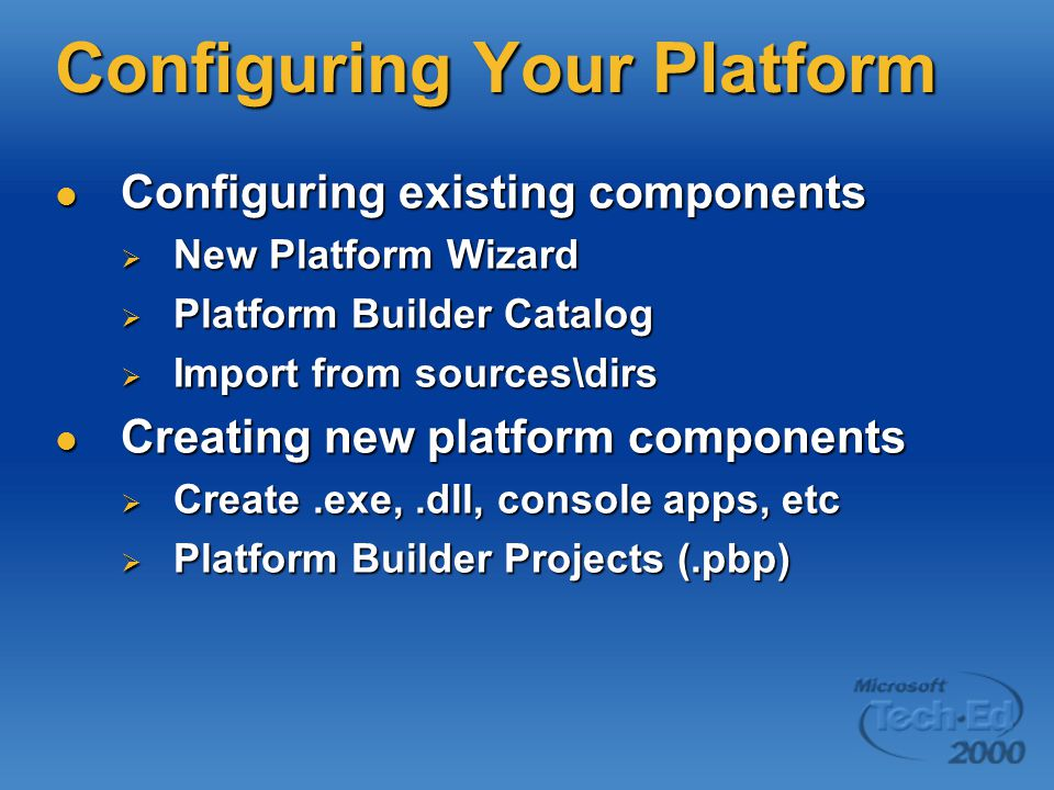 Configuration And Build Improvements Better support for custom configs Better support for custom configs  IDE displays custom core OS configurations  Platform settings are dynamically generated from data in the.CEC file Data-driven wizards and settings Data-driven wizards and settings More granular control over build settings More granular control over build settings