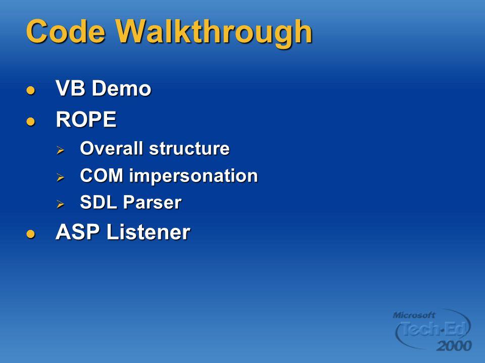 Code Walkthrough VB Demo VB Demo ROPE ROPE  Overall structure  COM impersonation  SDL Parser ASP Listener ASP Listener