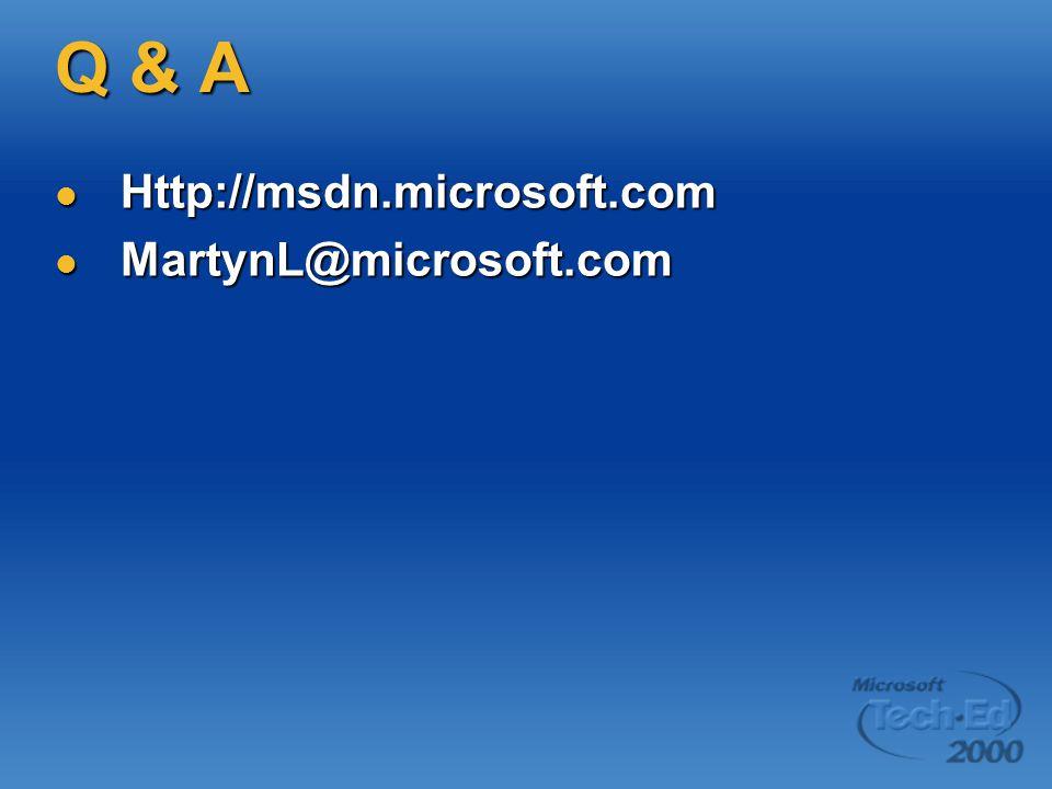 Q & A Http://msdn.microsoft.com Http://msdn.microsoft.com MartynL@microsoft.com MartynL@microsoft.com