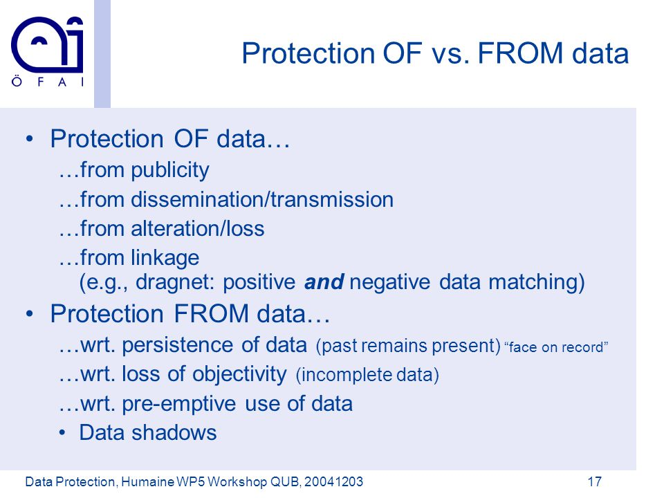 Österreichisches Forschungsinstitut für Artificial Intelligence Data Protection, Humaine WP5 Workshop QUB, 2004120317 Protection OF vs.
