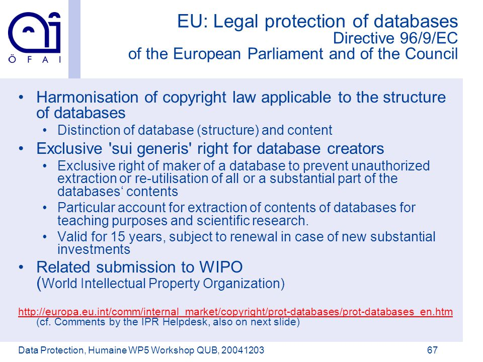 Österreichisches Forschungsinstitut für Artificial Intelligence Data Protection, Humaine WP5 Workshop QUB, 2004120367 EU: Legal protection of databases Directive 96/9/EC of the European Parliament and of the Council Harmonisation of copyright law applicable to the structure of databases Distinction of database (structure) and content Exclusive sui generis right for database creators Exclusive right of maker of a database to prevent unauthorized extraction or re-utilisation of all or a substantial part of the databases' contents Particular account for extraction of contents of databases for teaching purposes and scientific research.