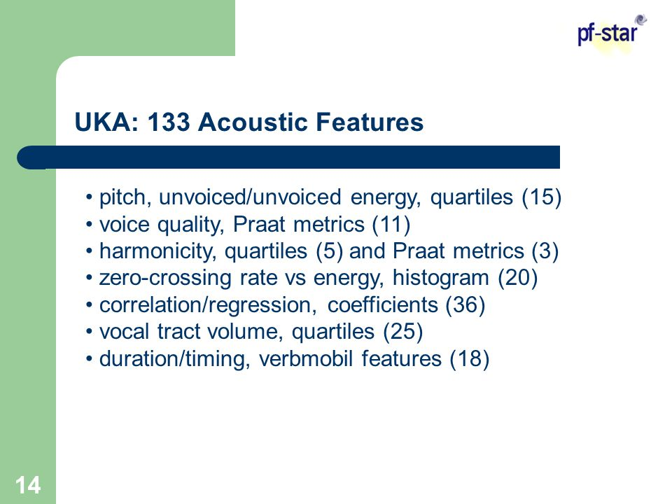 14 UKA: 133 Acoustic Features pitch, unvoiced/unvoiced energy, quartiles (15) voice quality, Praat metrics (11) harmonicity, quartiles (5) and Praat metrics (3) zero-crossing rate vs energy, histogram (20) correlation/regression, coefficients (36) vocal tract volume, quartiles (25) duration/timing, verbmobil features (18)
