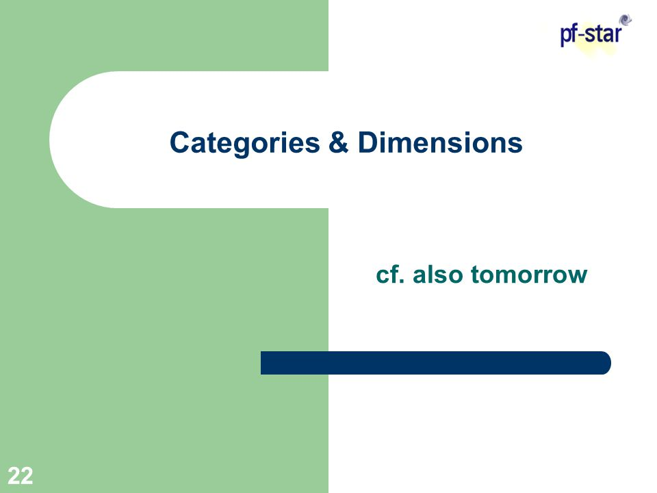22 Categories & Dimensions cf. also tomorrow