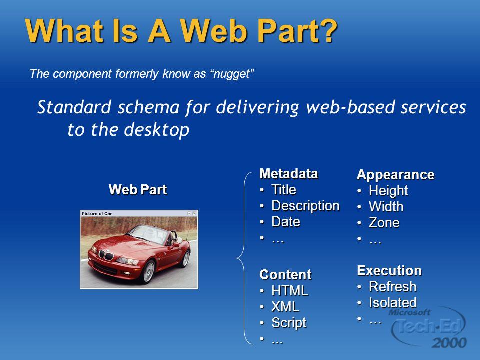 What Is A Web Part? Standard schema for delivering web-based services to the desktop Metadata TitleTitle DescriptionDescription DateDate … Web Part Co