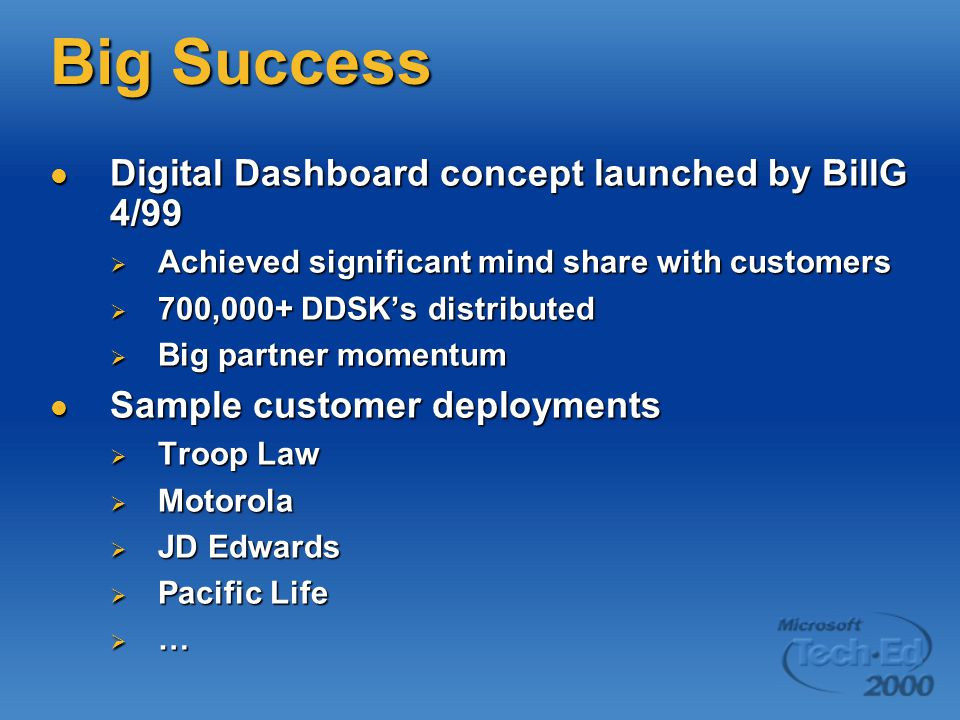 Big Success Digital Dashboard concept launched by BillG 4/99 Digital Dashboard concept launched by BillG 4/99  Achieved significant mind share with customers  700,000+ DDSK's distributed  Big partner momentum Sample customer deployments Sample customer deployments  Troop Law  Motorola  JD Edwards  Pacific Life  …